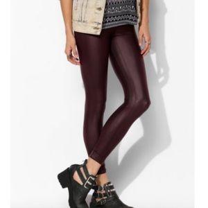 BDG Cuffed Vegan Leather Leggings Burgundy